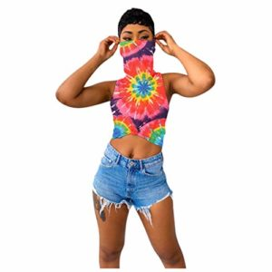 Junjie Crop Top Summer Tie-Dyed Printed Vest with Face Scarf Tank T-Shirt sans manches Blouse Navy, Blue, Multicolor, Purple, Yellow, Pink S-3XL