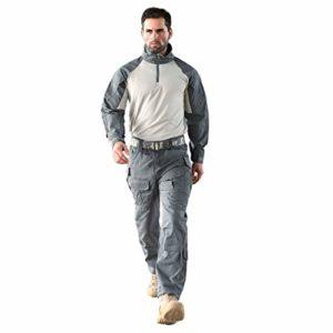 LXYFMS Ensemble de Sport pour vêtements de Travail Confortable Respirant Sports Alpinisme Monté Combat de survêtement Gris de la Guerre Pantalon pour Homme Ensemble de Veste Costume de Camouflage
