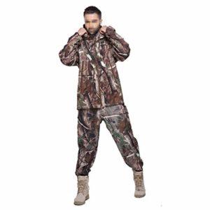 LXYFMS Vêtements de Camouflage entraînement en Plein air Course à Pied Sport randonnée Chasse Veste Coupe-Vent imperméable Coupe-Vent et Pantalon Costume de Camouflage (Size : XXL)