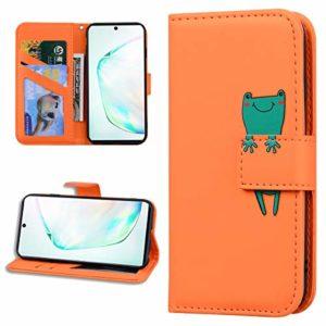 Miagon Animal Flip Coque pour Samsung Galaxy S7,Portefeuille PU Cuir TPU Cover Désign Étui Folio à Rabat Magnétique Stand Wallet Case,Orange