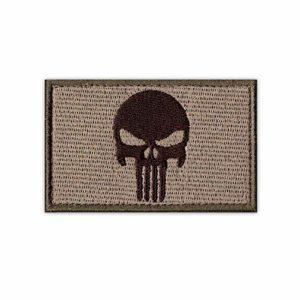 Onuris Punisher Skull Tactical Military Morale Patch Punisher Tête de mort bande Velcro, marron