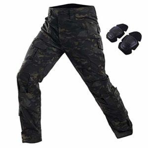 SGOYH Multi-Poche Pantalons de Service Tir au Fusil de Peinture Pantalon Tactique BDU Pantalon Airsoft avec genouillères (Noir-CP, S(30))