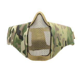 Waycreat 15,2cm tactique pliable Demi visage Masque de protection en maille Masque pour airsoft Paintball CS avec réglable et sangle de ceinture élastique, vert militaire