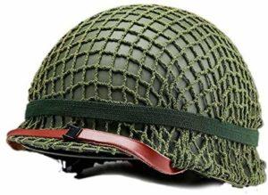 Winer Outdoor WW2 US M1 Casque Acier Vert avec Maille Maille Toile Chin Cat Eye Ceinture Taille Réglable