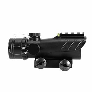 Big Dragon ACOG Airsoft Red Dot 5 Intensity Red Sight with Bubble and Upper Sled, Aluminium (Black)