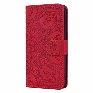 Coque iPhone 11 Porte-Cartes [Béquille] [Fentes pour Cartes] [Fermoir Magnétique] Étui à Rabat Housse en Cuir pour Apple iPhone 11 2019 – TTHF010033 Rouge