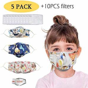Delan Lot de 5 bandanas en coton avec valve de respiration et 10 filtres à charbon actif remplaçables