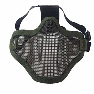 FYstar Airsoft Field Wargame Tribal Chief Mask Half Face Metal Steel Net Mesh Hunting Tactical Protective Airsoft Mask (Green)