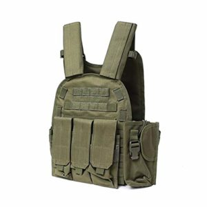 Gilet Tactique Gilet Tactique 900D Corps Nylon Armure Hunting Plaque Support M4 Pouch Combat Vitesse (Color : Green, Size : One Size)