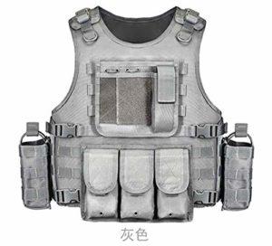 Gilet Tactique Gilet Tactique Militaire du Corps De Camouflage Vêtements De Sport Chasse Gilet Armée Molle Police Gilet Noir (Color : Gray, Size : One Size)