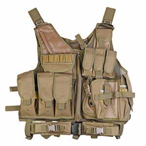 Gilet Tactique Hommes Gilet Tactique Militaire Paintball Chasse Camouflage Gilet d'assaut Chasse Tir Plaque Support avec Holster (Color : Khaki, Size : One Size)