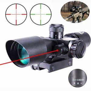 Lunette de visée 2.5-10×40 Rouge-Vert éclairé Mil-Dot Gun RifleScopes pour Vue Tactique Lunette de visée Militaire / 20mm