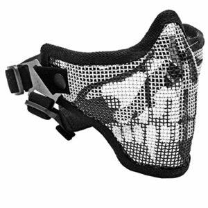 Métal La moitié du crâne Visage Protecteur Paintball Airsoft Fil d'acier Mesh Squelette Demi Visage de Protection Protecteur pour Les Hommes