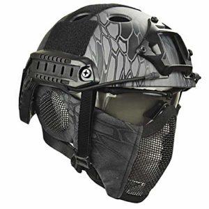 QZY Casque de Protection Airsoft Paintball ETS Casques Tactiques avec Masque de Maille en Acier Set de Jeux CS 8 Couleurs,TY