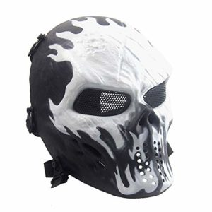 Sensong Masque Airsoft Protection Paintball Masque de Squelette Crâne Complet Tactique CS Jeu Halloween Décoration Cosplay Feu