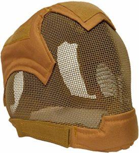 XYLUCKY Airsoft qualité Full Face Escrime Casque BB Gun Ear Mesh Casque de Protection,B