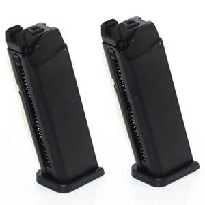 Airsoft Accessories ARMY 2pcs 25rd Mag Magazine pour ARMY R17 / Tokyo Marui G17 GBB Pistolet Noir