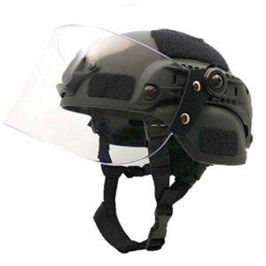 Casque Tactique Airsoft Paintball avec Lunettes De Soleil, Casque De Protection Rapide De Type PJ pour CS War Game Hunting Shooting Équipement De Protection,B