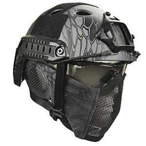 Dbtxwd Casque de Protection Tactique Airsoft Paintball avec Lunettes pour Jeu CS Paintball Army War Game Motorcycle Hunting,C