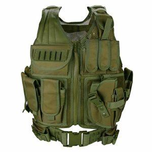 ProCase Gilet Tactique Militaire Mesh, Veste de Combat avec Ceinture pour Airsoft Jeu CS Militaire -Vert