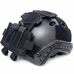 WLXW Tactical MK2 Casque Batterie Cas Casque Accessoire Sac Multifonction Balance Poids Sac pour Fast Casque Militaire Poche Batterie,Noir