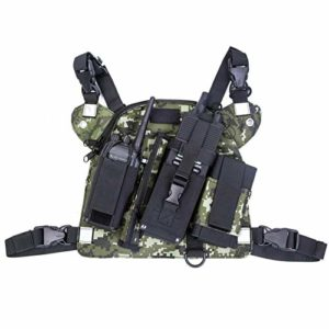 2020Universal Radio Chest Harness Rig Holster Pack avec poches avant et sac à glissière utilitaire gilet Rig Holster, sac de poitrine radio portable pour talkies-walkies universels