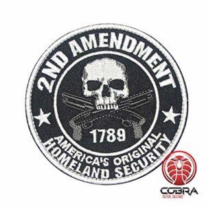 Cobra Tactical Solutions Military Patch Écusson Brodé»2ND AMENDMENT AMERICA'S ORIGINAL HOMELAND SECURITY» anglais avec Fermeture Velcro pour Airsoft/Paintball pour vêtements Tactiques et Sac à Dos