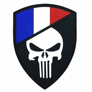 France Français Drapeau Punisher Brillent dans Le Noir Cosplay Airsoft PVC Patch