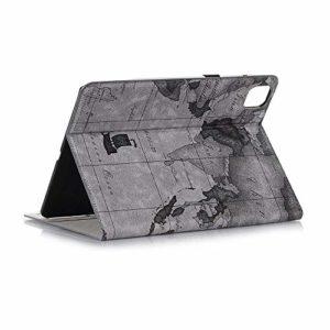 Jennyfly Étui en cuir PU avec support mains libres et porte-crayons avec protection d'écran et fentes pour cartes et argent 2020 iPad Pro 12.9(4th Gen) gris