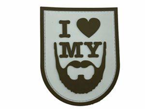 Patch Nation Écusson « I Love My Beard Airsoft » en PVC Morale Team, Marron, 100mm x 80mm