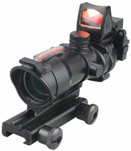 ACEXIER Optic Scope 4×32 Portée True Fiber Red Lelighted Crosshair Reticle Scopes with 20mm Rail Mount Holographic Sight