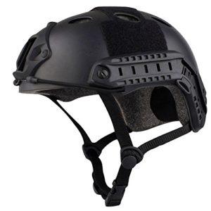annong Casque de Combat Fast de type SWAT Airsoft avec protection Taille unique noir – Noir