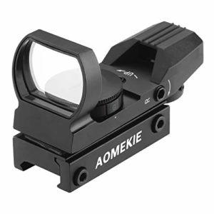 Aomekie Viseur Point Rouge/Vert Point Portée Holographique Airsoft Tactical Image avec Pont de Montage Picatinny Intégrale