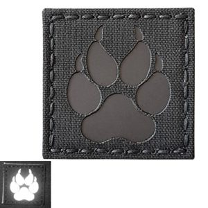 Blackout Infrared IR K9 Dog Handler Paw K-9 2×2 Laser Cut Reflective Tactical Morale Hook-and-Loop Écusson Patch
