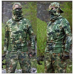 CIGONG Costume de Camouflage pêche en Plein air Chasse Oiseau équitation Printemps et été col Rond t-Shirt t-Shirt Pantalon Slim Pantalon séchage Rapide Combinaison de Sport Slim Camouflage