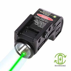 IRON JIA'S Pistolet Tactique Laser Vert avec Lampe de Poche LED, 2-en-1, Mini-Attractions Accessoires pour Arme de Poing/Fusil/Armes de Chasse, Montants de 20 mm
