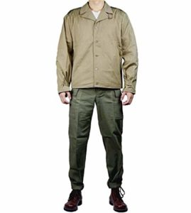 JXS WW2 US Army M41 Uniforme, 100% Coton Tissu Respirant Veste et Pantalon Militaire Set Uniforme – Pêche en Plein air et de Chasse Uniforme de Combat,44R