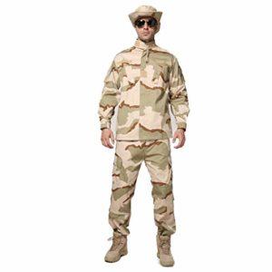 MKJYDM Camouflage Pantalon de camouflage multi-poches pour homme Vêtements d'alpinisme Vêtements de plein air Vêtements de chasse 2 pièces Chemise à manches longues Camouflage Taille XS/165-170/60 kg)