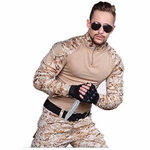 MKJYDM Camouflage Vêtements d'entraînement pour homme Vêtements de sport Slim Fit Veste Camouflage Pantalon spécial Grenouille Camouflage Taille M