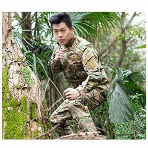 MKJYDM Combinaison de camouflage décontractée pour entraînement dans la jungle, chasse, sport, escalade, équitation, chemise à manches longues et pantalon camouflage multi-poches Taille L (180-185)