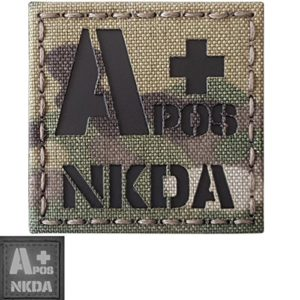 Multicam Infrared IR APOS NKDA A+ Groupe Sanguin 2×2 Laser Reflective Tactical Morale Hook&Loop Écusson Patch