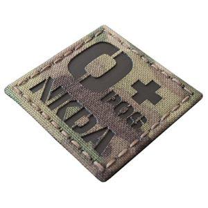 Multicam Infrared IR OPOS NKDA O+ Blood Type 2×2 Tactical Morale Hook&Loop Patch