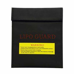 NUOBESTY Sac à batterie ignifuge Lipo sécurité Sac de sécurité Li-po Sac de rangement pour objets importants Sac de rangement extérieur Petit sac de rangement pour voyage 23 cm x 30 cm (Noir)