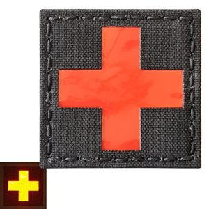 Red Cross Reflective Med Medical EMS EMT 2×2 Tactical Morale Touch Fastener Patch