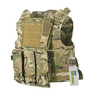 TOMOUNT Gilet Veste en Nylon Camouflage MOLLE pour Tactique Combat Paintball Militaire CS