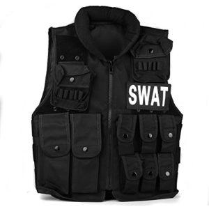 TOMOUNT Gilet Veste en Nylon Noir pour SWAT Tactique Combat Paintball Militaire Jungle